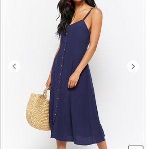 Button Down Navy Blue Midi Dress Sz M